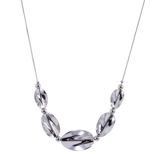 Bisoux Rodium Plated Twisted Silver Feature Necklace